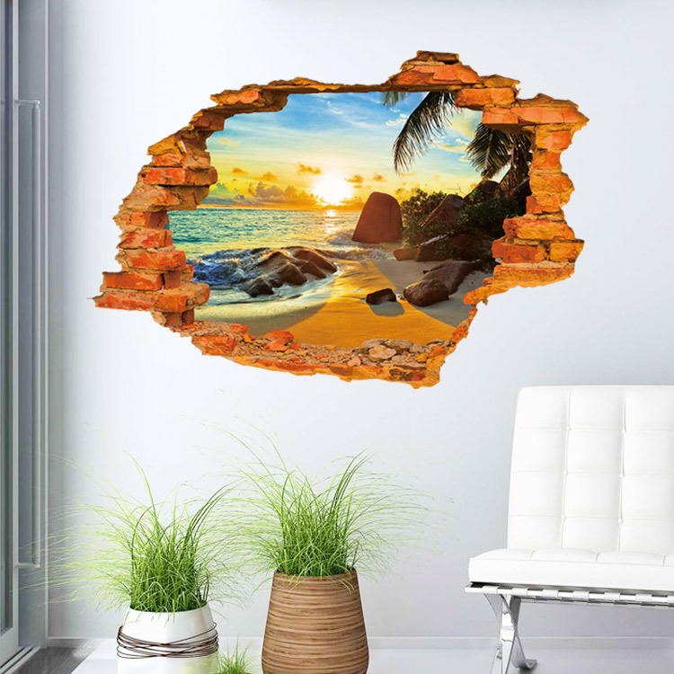 Super Stereoscopic Beach Sunshine 3D Wall Art Sticker Home Decoration Stickers Rooms Decor Waterproof For Bathroom Muurstickers