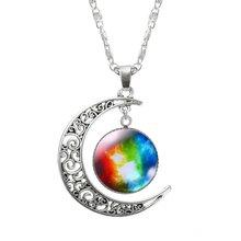 KISSWIF серебряное ювелирное изделие, модное массивное ожерелье со стеклянной Галактикой, Очаровательное ожерелье и подвески, ювелирные украш...(Китай)