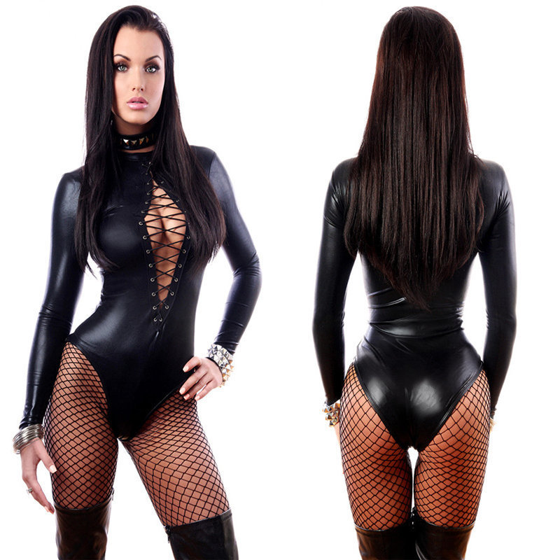 f2c633c46 2019 New Hot Sexy Lady Black Leather Latex Catsuits Low Cut With ...