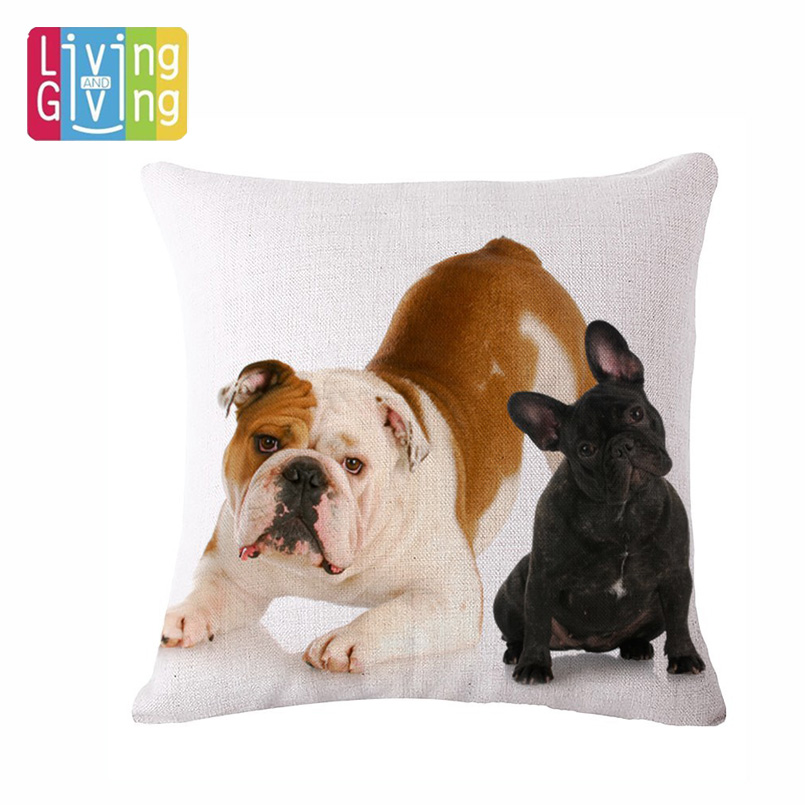 Home Textile European Almofadas French Bulldog Cushion Cover Cute Seat Car Sofa Cushions Cotton Line Home Decorative Pillows