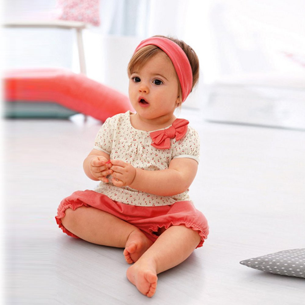 1 3Y Kids Baby Girl Princess Girl Baby Dots Bow Short Sleeve Tshirt Short Pants 2Pcs