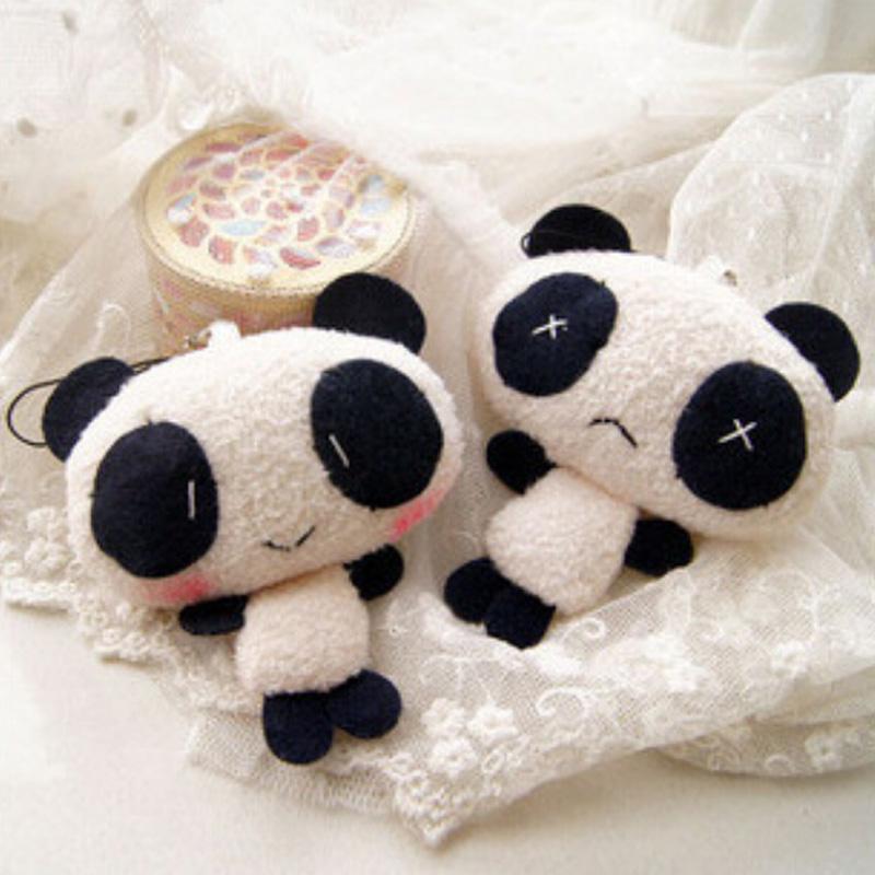 50pcs/lot Mini cute panda with chain bear Stuffed plush