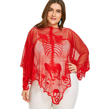 7978bd342ed ZAFUL Plus Size Skeleton Embroidery Lace See Thru Poncho Blouse Summer  Beach Smock Sexy Batwing Sleeve Mesh Female Blusas Shirts