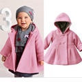 2016 Baby Girls Warm Coat Autumn Winter long sleeve Hooded Jacket Pea Coat Outerwear For 1