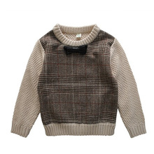 2016 Autumn Winter England Style Plaid Patchwork Boys Sweaters with Bow Tie Children's Kids Warm Clothes Gift For Boy