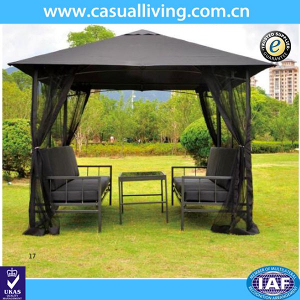 Metal Gazebo With Netting Tent Privacy Curtains Steel Frames Cover Fabric Roof Sun UV Protected Patio Mosquito Net