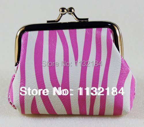 Или : полиуретан кожа зебра узор дизайн женщины монета портмоне, Нулевой бумажник, Монета сумки ( 7,5 * 9 см )