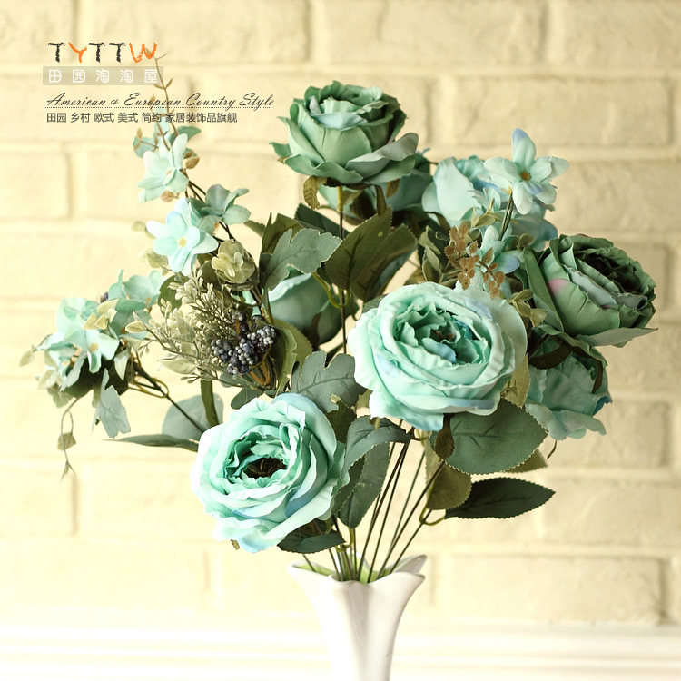 13 Head European <font><b>Elegant</b></font> Artificial Roses Bouquet Silk Flowers <font><b>Home</b></font> <font><b>Decor</b></font> Wedding Decoration flores artificial Free shipping