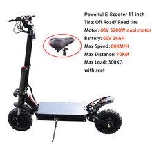 60 в 3200 Вт Электрический Скутер 80 км/ч внедорожный Электрический двойной мотор 60 в 35A samsung Аккумулятор 100 км Adulto скейтборд Patinete Eletrico(Китай)