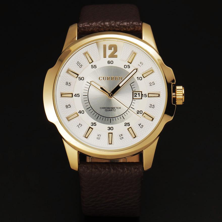 2015 нью-curren мода мужчины кварцевые кожаный ремешок часы с золотой стали чехол твердой дата индекс набора relogio masculino