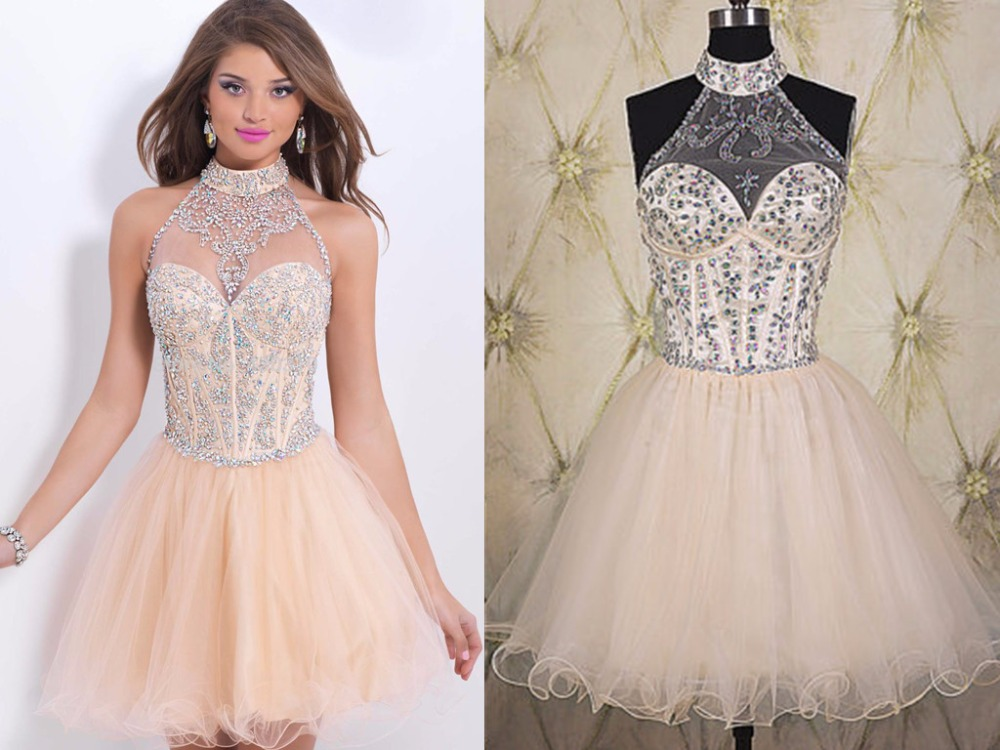 A Line Tulle Simple Wedding Dresses With Beading Off The: 2014 Fashion A Line Champagne Tulle Beaded Top Mini Prom