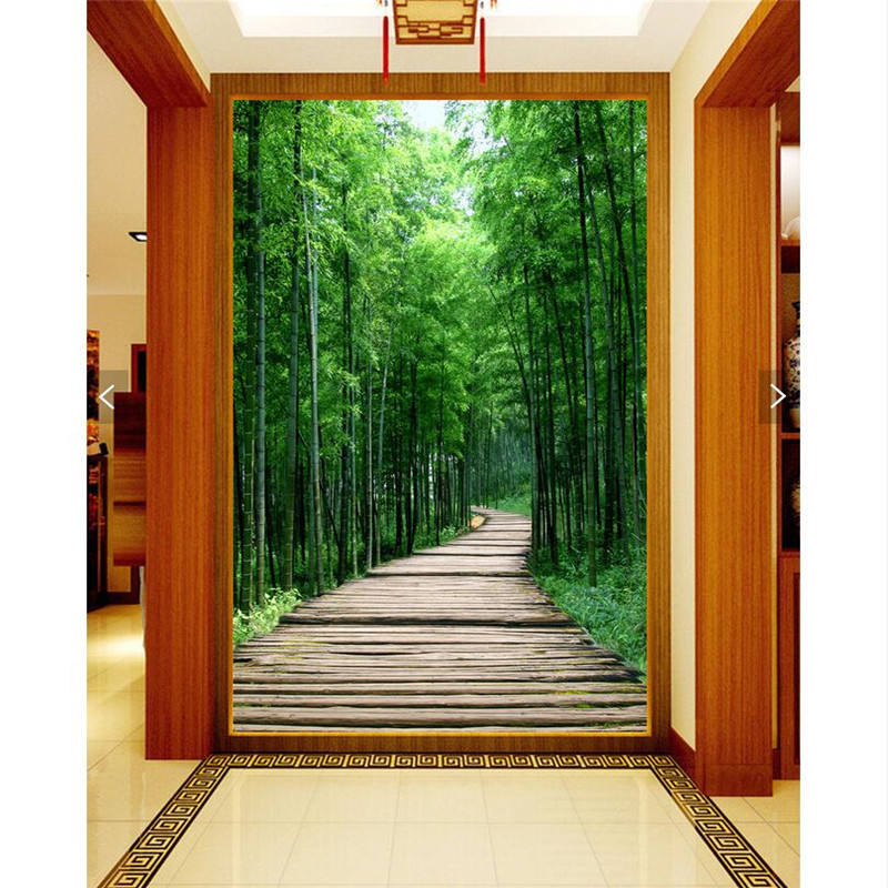 Painting 3d Picture Green Nature Bamboo Boardwalk Restaurant Hotel Murals Home Decor Modern Art Wall Painting For Living Room