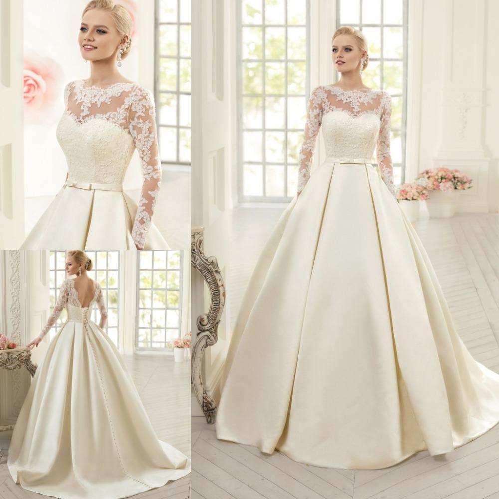 Elegant Simple Long Sleeve Wedding Dress: Elegant Simple Long Sleeve Wedding Dresses With Lace 2015
