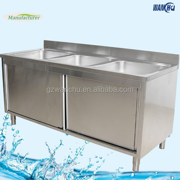 Commercial Stainless Steel Kitchen Cabinets: Commercial Triple Bowls Stainless Steel Kitchen Sink