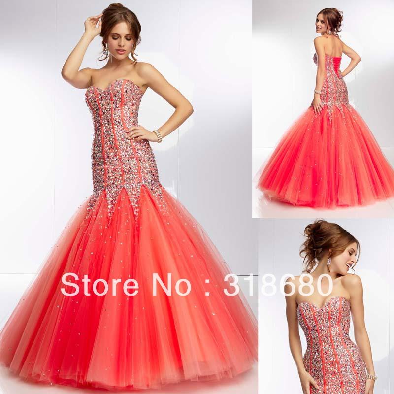 Bright Orange Mermaid Prom Dresses Bright Orange Mermaid Prom