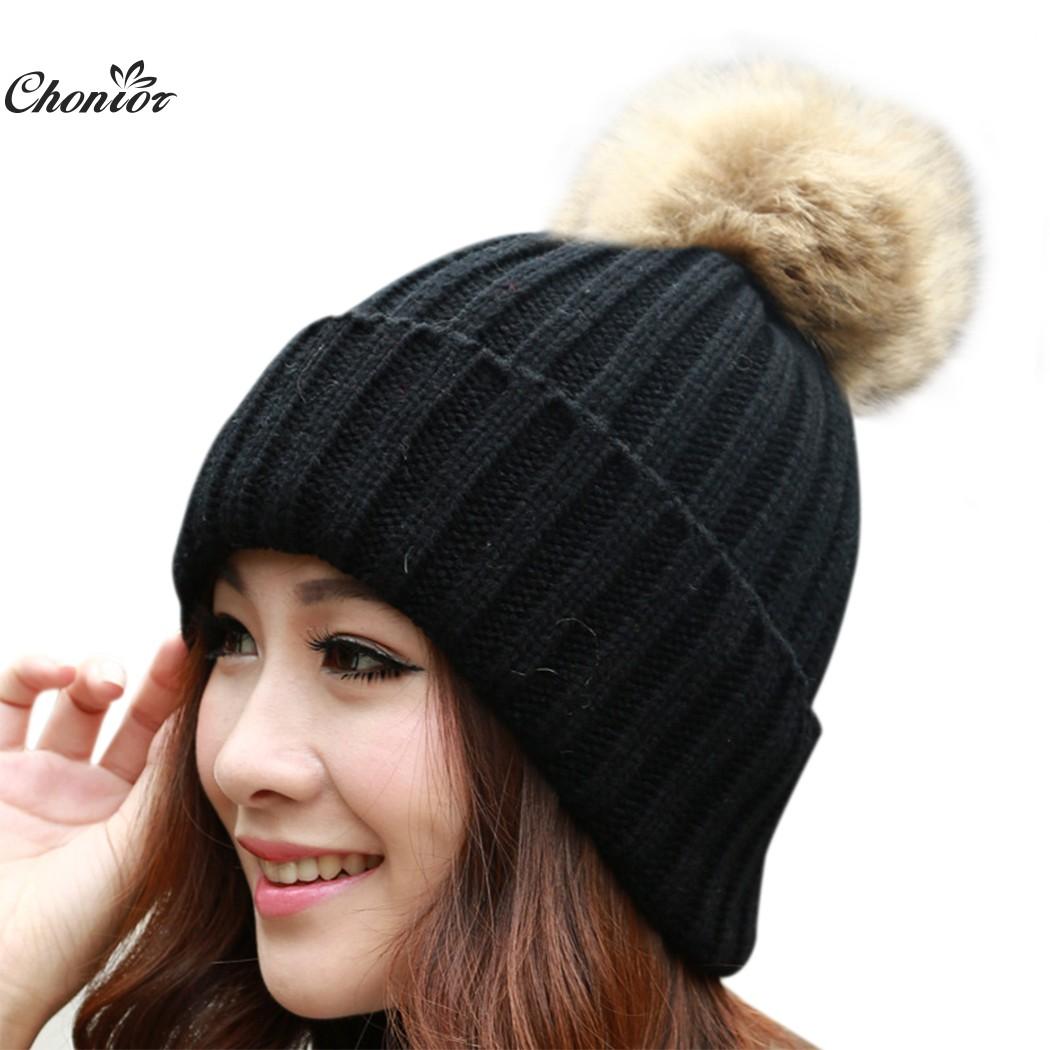 Brand 2016 Women Casual Autumn font b Winter b font Hats Beanie Knitted Cap Crochet Rabbit