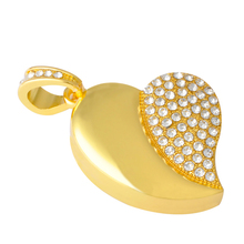 Gold Crystal Heart 64GB 32GB 16GB Jewelry Usb Flash Drive 1TB 2TB Jewelry Flash Card Memory Stick Pen Drive Gift Gadget Pendrive