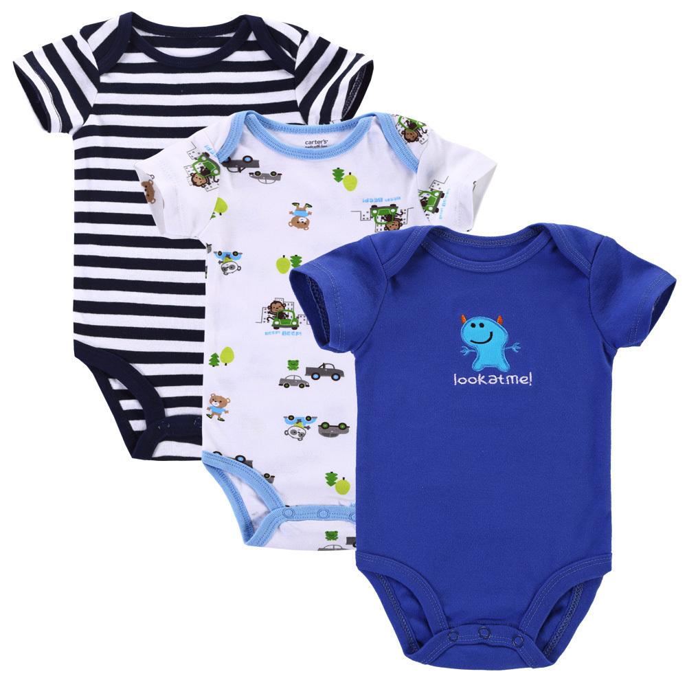 c1a2f2dee 3pcs lot Baby Romper Short Sleeve Cotton Carters Baby Boy Girl ...