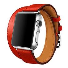 Ремешок для часов Apple Watch 5 4 3 21 ремешок 42 мм 38 мм кожаный ремешок двойной ремешок для Iwatch Serie 5 4 3 2 1 полоса 44 мм 40 мм(Китай)