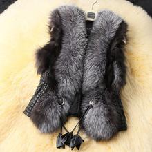 2015 Autumn Winter Women Fur Vest Sleeveless Gradient Casual Outwear Plus Size 3XL Ladies Elegant Jacket Women Faux Fur Coat