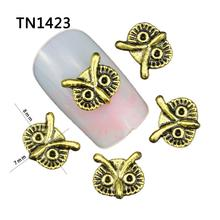 10Pcs Lot Alloy Owl Design 3D Nail Art Decorations Glitter Gold Silver Black 3 Color Nighthawk