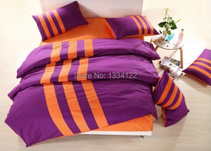 Newest fashion sport purple and orange bedding set for ...