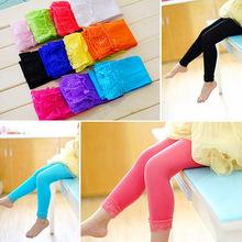 Hotsale Lovely Candy Color Lace Children Pantyhose Kids Girls Leggings Children Solid Fashion Stretchy Velvet Girls