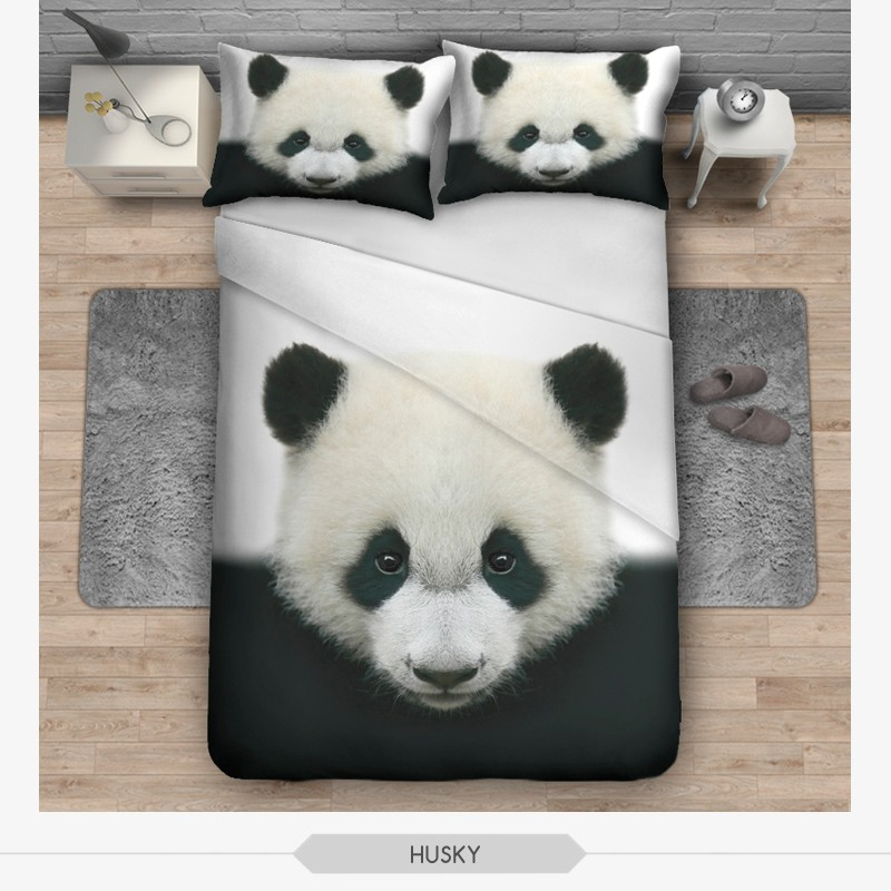 new hipster 3d ensembles de literie panda animaux souple. Black Bedroom Furniture Sets. Home Design Ideas