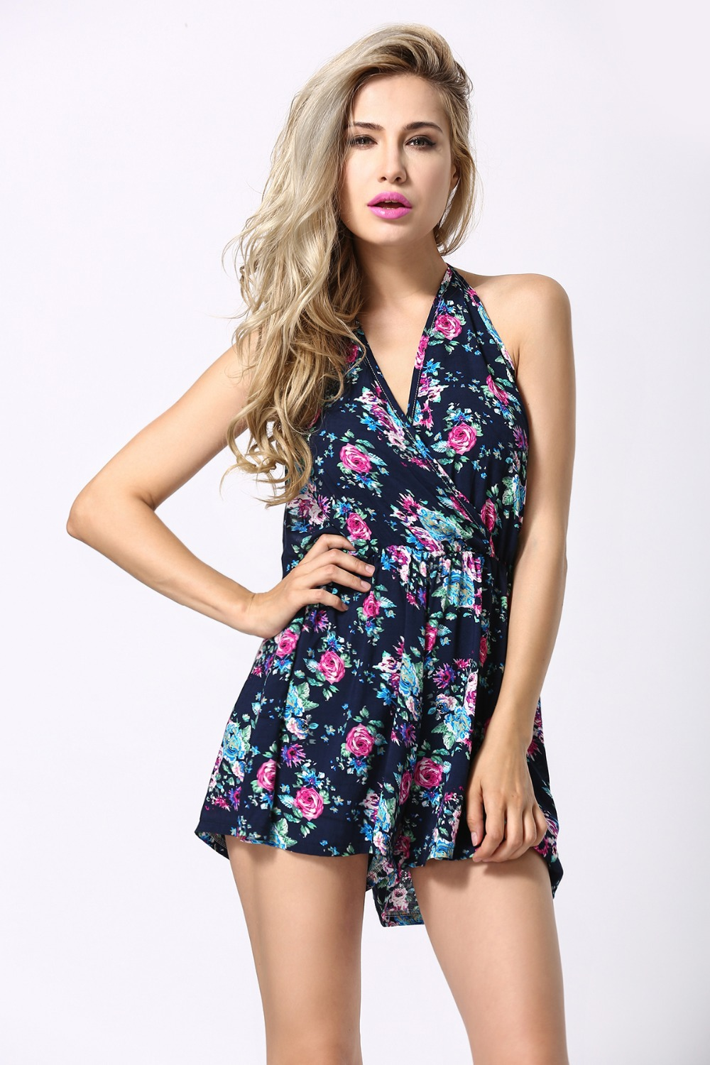 1b7346b9dcf9 Macacao Feminino Shorts Female Rompers Womens Jumpsuit Sexy Backless Print  V Neck One Piece .