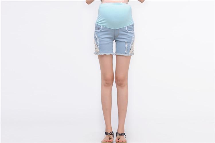 816 # завышенной талией для беременных шорты голубой брюки одежда для беременных одежда для беременных носят 2014 новый летний