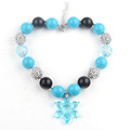 New Girls Christmas Gift Items Resin Sky Blue Color Snow Flake Chunky Strand Necklace Kids Bubblegum