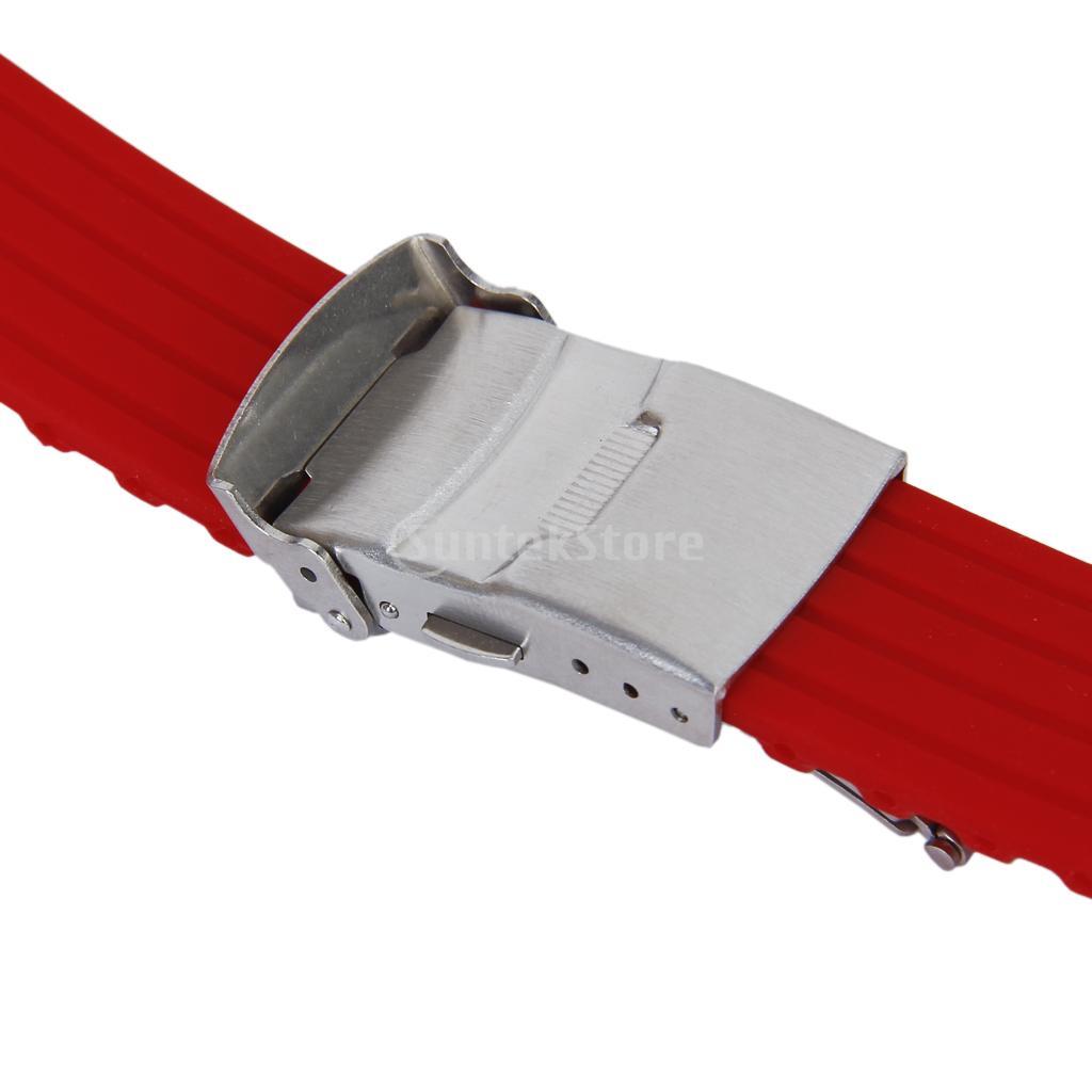 Красный силиконовая резина часы ремень лента развертывания пряжка водонепроницаемый 22 мм