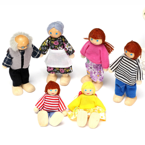 Us 5 2 48 Off Happy Dollhouse Family Dolls Small Wooden Toy Set Figures Dressed Characters Children Kids Playing Doll Gift Kids Pretend Toys In
