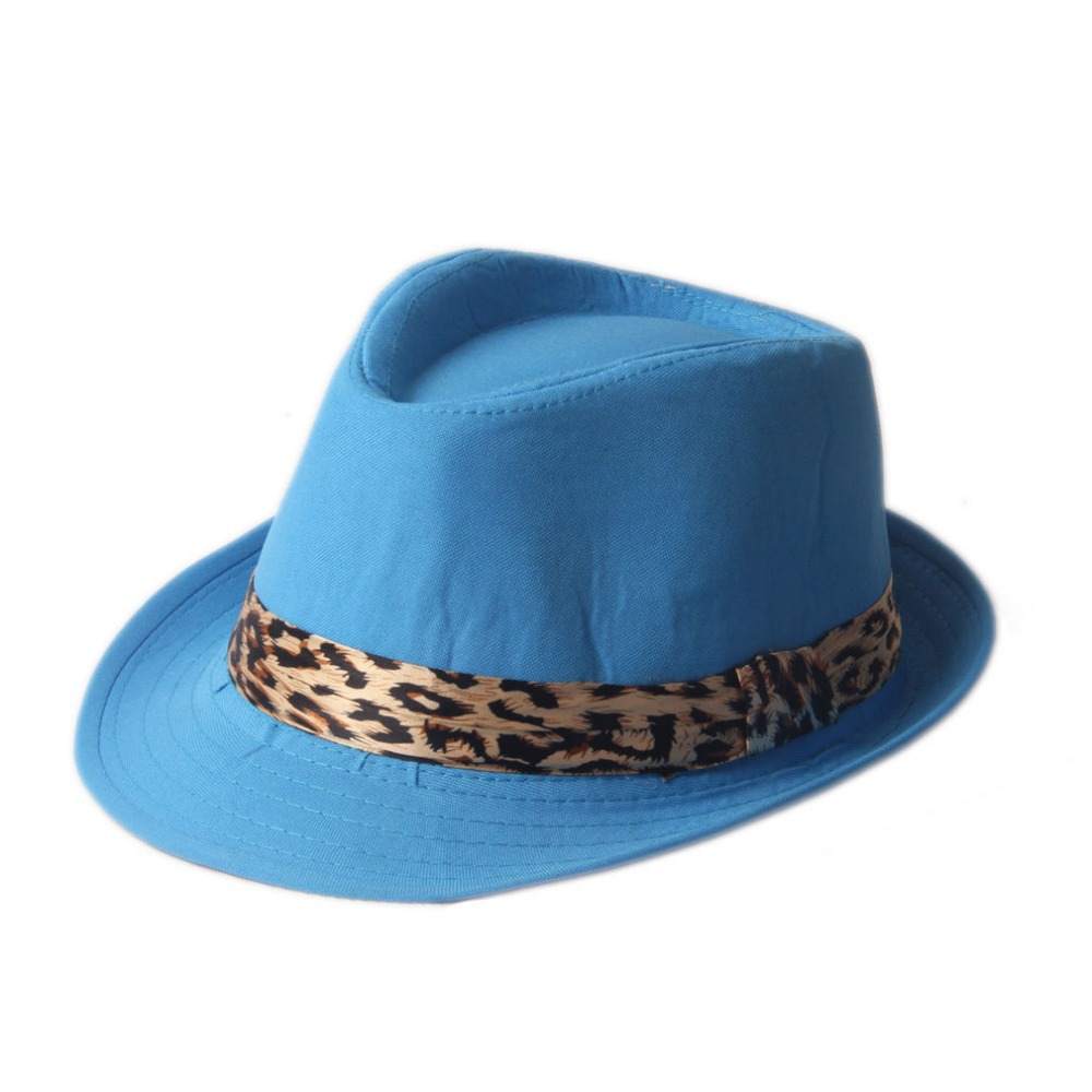 2016 Unisex Baby Kids Boys Girls Fedora Trilby Hat Leopard Ribbon Band Jazz Sunhat