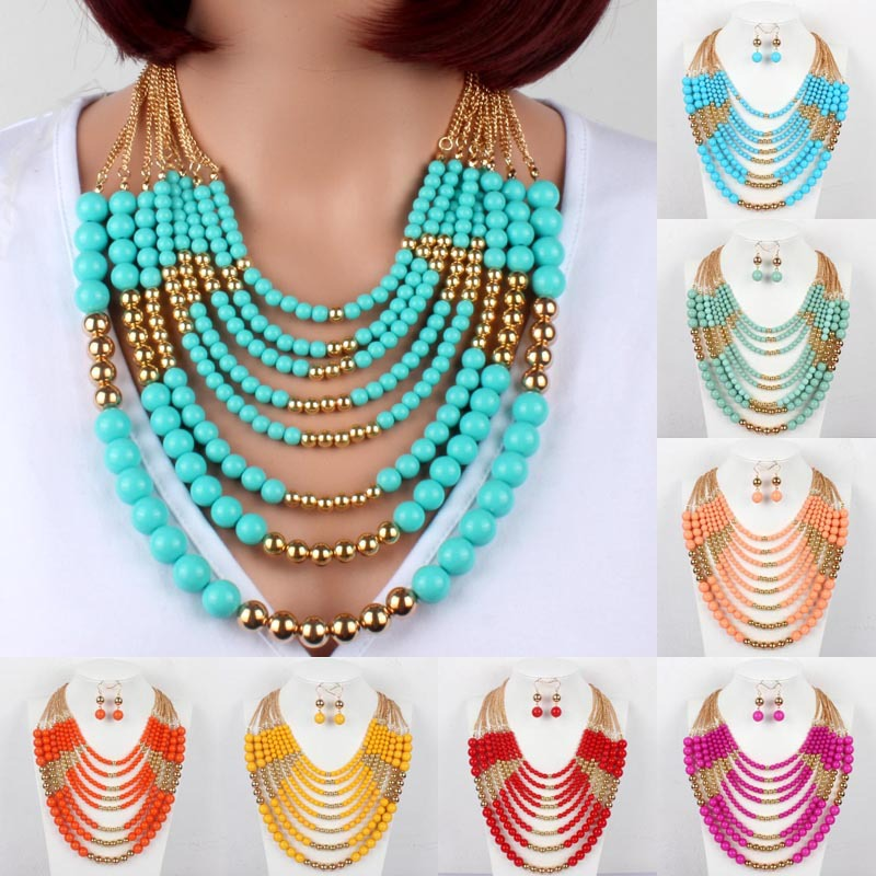 ba2211a46c6 multi layer necklaces statement necklace fashion women acrylic bead gold  chain necklace popular jewelry collier femme