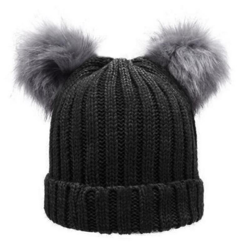 Women S Winter Chunky Knit Double Pom Pom Beanie Faux Fur Hat Women ... cb178168c477