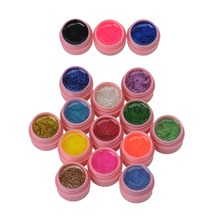 16 pot lot Nail Varnish Mix Pure Glitter Pure Color UV Builder Gel Nail Art Tips