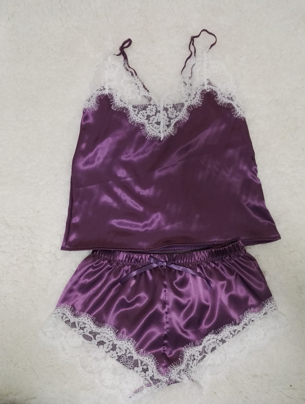 2019 Wholesale Satin Cami And Shorts Set Lace Nightgowns Comfy ... f27b83d9c