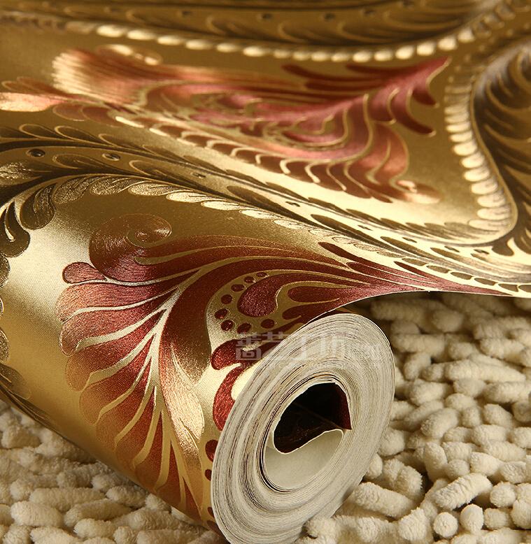 European Luxury Gold 3D Wallpaper Waterproof Reflective