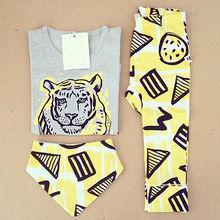 2016 Summer Baby clothing Girls Boys Tops T shirt Pants Bib 3pcs Outfits Set