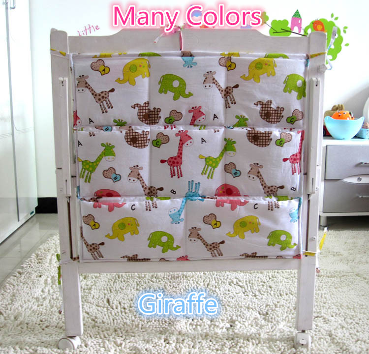Promotion Kitty Mickey 62 52cm Thick and Smooth Toddler Bed Hanging Pockets Fabrics Kids Diaper Storage