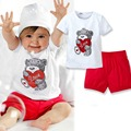 New 2Pcs Baby Kids Tops Pants Heart Bear Pattern Outfits Set Clothes 0 3 Year