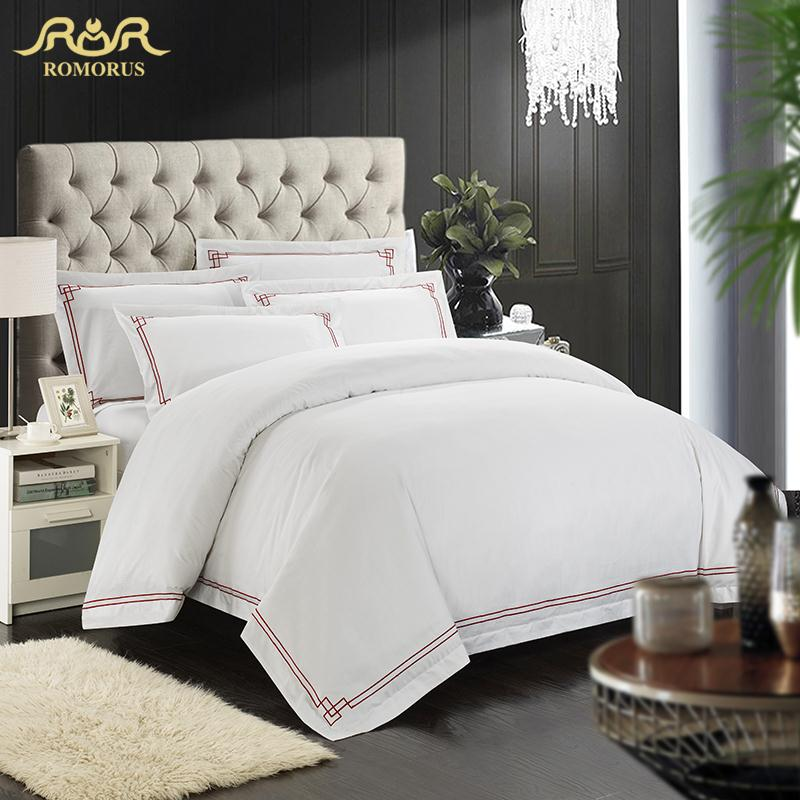 Hotel Collection King Size Quilts: ROMORUS Designer 100% Cotton Embroidered Hotel Bedding Set