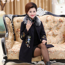0563cdc9031 XL-4XL winter plus size wool Coat women 2018 New Long Fur collar embroidery  Flowers Red Wool Coat Fashion Elegant Jacket LF655