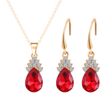 1 SET 5 Colors Top Fashion Class Women Girls Lady Heart Crystal Amethyst Pendant Necklace earrings Set NEW Jewelry
