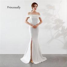 Вечернее платье Русалочки, сексуальное, с Боковым Разрезом, вырезом лодочкой, вышивкой, для банкета, для свадьбы, Abiti Da Cerimonia Da Se(Китай)