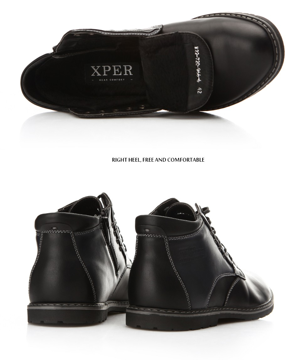 XPER Brand Autumn Winter Men Shoes Boots Casual Fashion High-Cut Lace-up Warm Hombre #YM86901BU