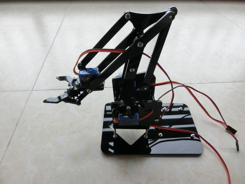 DIY Robot Arm DIY Assembly Acrylic Mechanical Arm 4 DOF Robot Claw Kit for Arduino Robotics SNAM1900 Robot Arm Kit