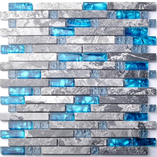 Kitchen Blue Wall Tiles: Sea Blue Glass Mosaic Tile Kitchen Backsplash Grey Marble