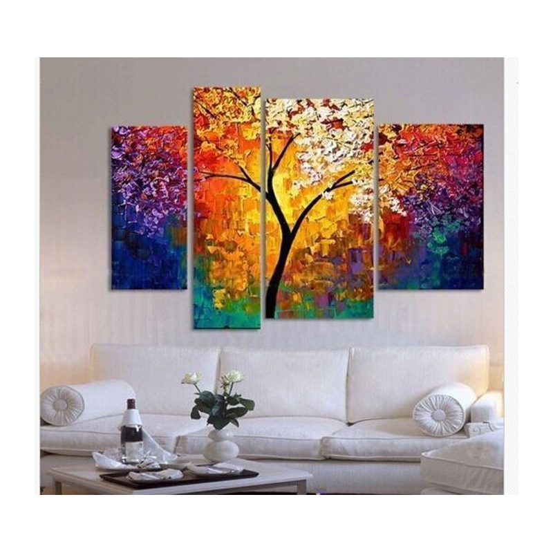 handpainted oil painting palette knife paintings for living room wall large canvas art cheap. Black Bedroom Furniture Sets. Home Design Ideas
